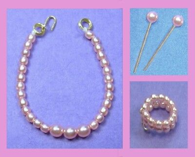 Dreamz PINK GRADUATED PEARL NECKLACE EARRINGS & BRACELET REPRO made for Barbie
