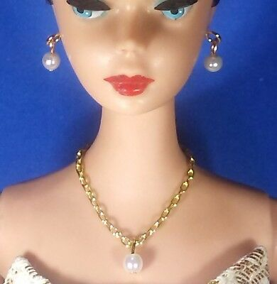 Dreamz WHITE DROP PEARL NECKLACE EARRINGS Doll Jewelry VINTAGE REPRO for Barbie