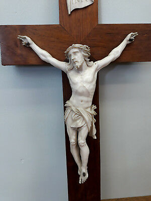 ANCIEN CHRIST SCULPTÉ CRUCIFIX XIXe ANTIQUE HAND CARVED
