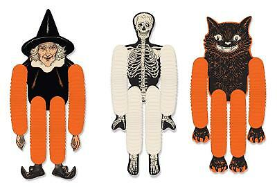 3 pc Vintage Beistle HALLOWEEN Decoration TISSUE Character DANCERS Reproduction