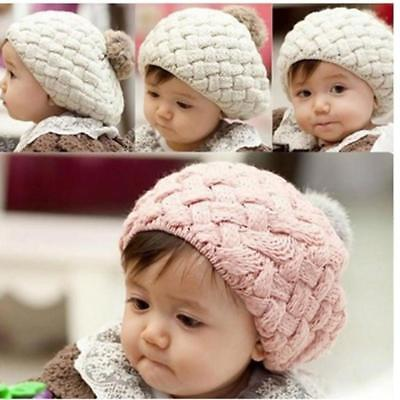 Cute Newborn Baby Girls Infant Toddler Crochet Knit Pom Warm Cap Beanie Cap FW