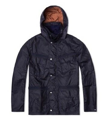 NWT Barbour Benkirk Sylkoil Waxed Cotton Jacket Navy Large MWX0803NY51 $479