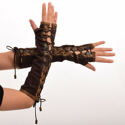 Vintage Medieval SCA Lace Up Long Glove Gothic Brown Fancy Dress Opera Gloves