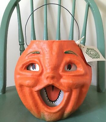 VINTAGE Style Paper Pulp Jack O Lantern PUMPKIN By SEASONS GONE BY Papier Mache