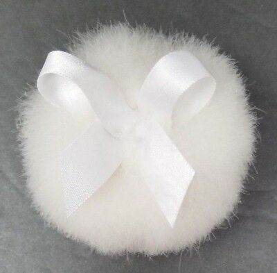"DOWN POWDER PUFF Swans Goose Ribbon WHITE Vintage New Old Stock 3"" Diameter NOS"