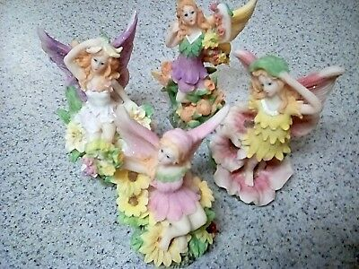 4 Forest Fairy Pixie Figurines Glitter Wings Mystical Fantasy Decor Resin 4""