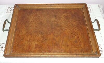 Antique/vintage Wooden Serving Tray With Brass Handles