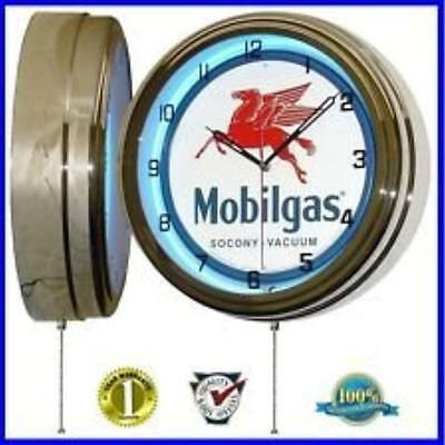 "Mobil Gas Mobilgas Oil 15"" Neon Wall Clock Advertising Garage Sign One"