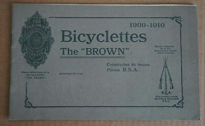"Plaquette Bicyclettes The "" Brown "" 1909-1910 B.S.A."