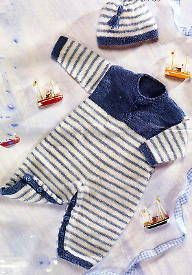 Baby Girl-Boy All in One and one in DK wool Knitting PATTERN Fits Birth-9 mths