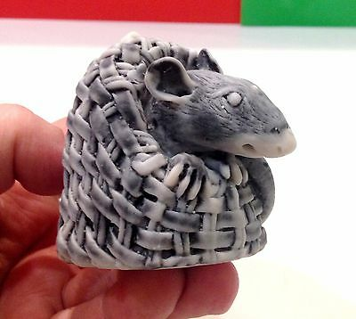 Rat figurine marble chips handmade Souvenirs from Russia small rodent basket