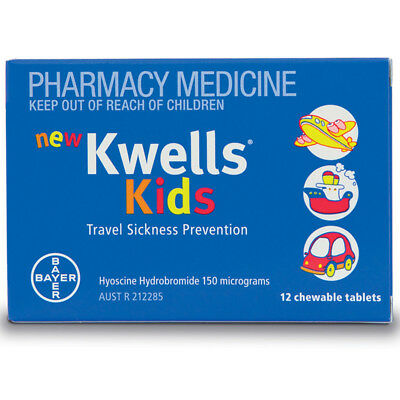 * Kwells Kids 12 Chewable Tablets Travel Sickness Prevention Motion Sea Sick