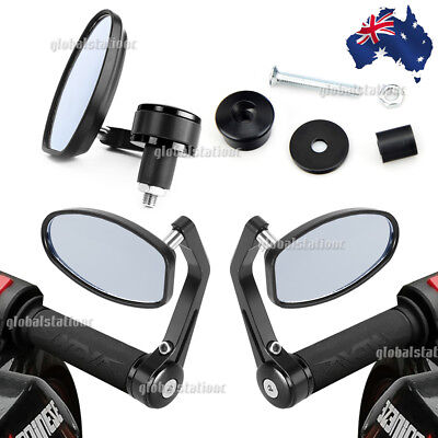 "Universal 7/8"" 22mm Motorcycle Handle Bar End Rear Side View Mirrors Cafe Racer"