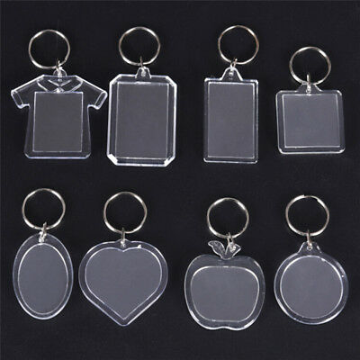 5Pcs Transparent Blank Insert Photo Picture Frame Keyring Key Chain DIY Gifts ~