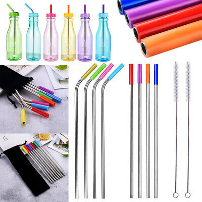 8pcs Stainless Steel Straws Reusable Metal With Silicone Tips Clean Brush New