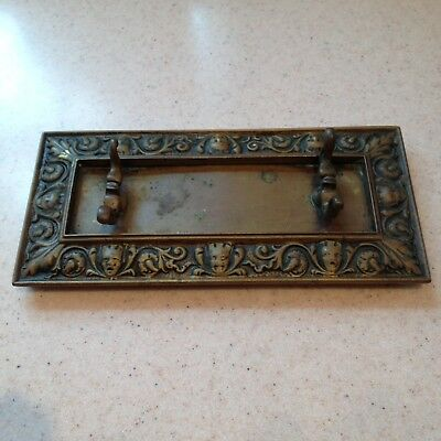 Antique Gothic Brass Stand Spoon Rest Trivet Old Unusual Bronze Vintage.
