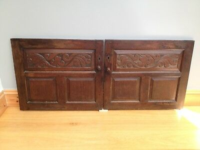 Antique 18th Century Oak Cupboard Doors X 2 Old Carved Gothic Architectural