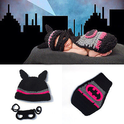 Newborn Baby Batman Cape Crochet Outfits Knit Costume Photo Photography Props