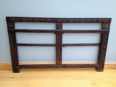 Antique 18th Century Oak Cupboard Door Frame Old Carved Gothic Architectural