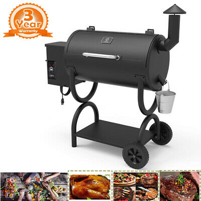 550SQ.IN Pellet Smoker BBQ Grill and Electric w/Digital Controls Outdoor Cooking