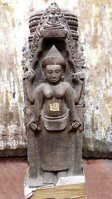 KHMER SANDSTONE TEMPLE BOUNDARY PILLAR 'KHLEANG' STYLE. ANGKOR WAT 12/13th C.