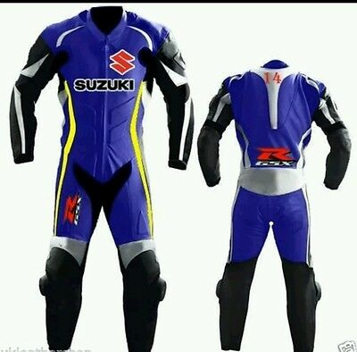 Suzuki Blue Motorbike Motorcycle Racing Leather Suit.  Ce Full Protection