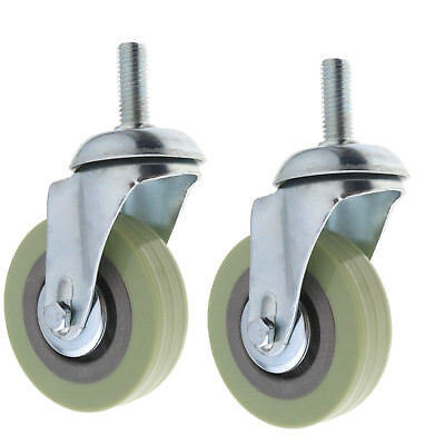 "2 Pack 3"" Swivel Caster Wheels Rubber Base with Top Plate M12 30mm Bolt"