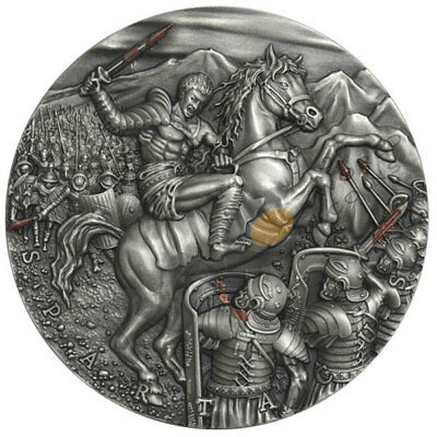 Spartacus Great Commanders 2 oz Antique finish Silver Coin 5$ Niue 2017