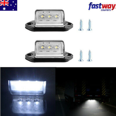 2X 3LEDs Universal License Number Plate Light Tail Rear Lamp Truck Trailer Lorry