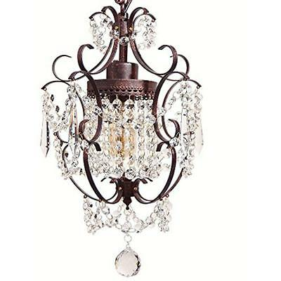 Chandeliers Starthi Bronze Mini Crystal Chandelier, Wrought Iron Ceiling Pendant