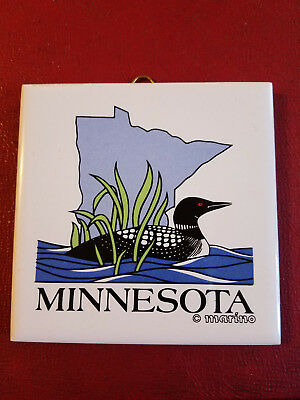 "Decorative Souvenir Tile/Trivet Minnesota 3.85"" square with cork backing"