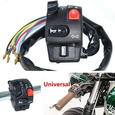 Black + Red ABS Light Horn On Off Switch Control For Motorcycle 22MM Handlebar