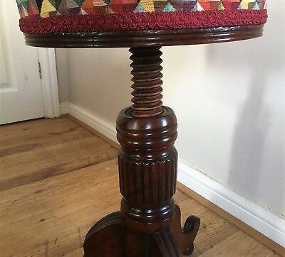 Antique Early Victorian Solid Oak Adjustable Revolving Piano Stool