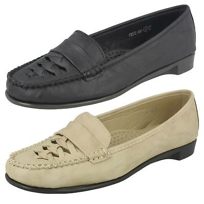 LADIES SPOT ON SLIP ON TASSEL TRIM LOW HEEL CASUAL SMART LOAFERS SHOES F9R713