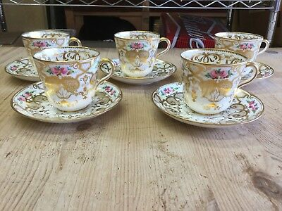 Tea Cups Saucers RIDGWAY c1850 Gold Gilt Roses Hand Painted ONLY ONE LEFT!!