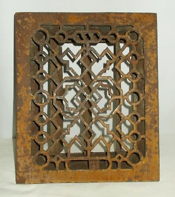 Vintage ORNATE Cast Iron Floor Register Heat Grate/Vent With Louvers RUSTY