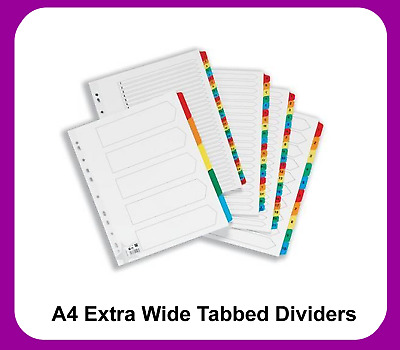 A4 File Extra Wide Dividers White Coloured Tabs Filing Inserts (Various)