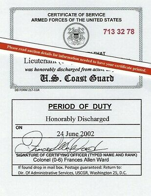 US Coast Guard Honorable Discharge Laminated Card 2 1/8 X 3 3/8