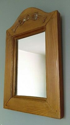 Vintage Carved Solid Pine Wooden Wall Mirror 1950's
