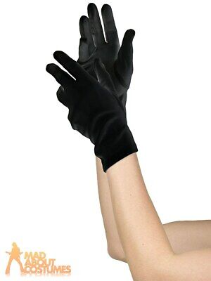 Ladies Short Black Gloves Mime Witch Halloween Magician Fancy Dress Accessory