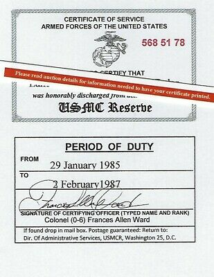 Marine Corps Reserve Honorable Discharge Laminated Card 2 1/8 X 3 3/8