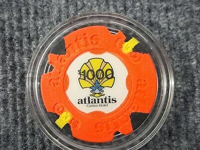 $1000 Atlantis Casino Hotel Chip AC Atlantic City - very nice cancelled