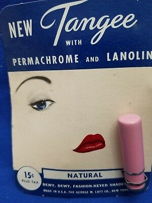 Vintage Original TANGEE Lipstick w/ Permachrome Lanolin  On Card George Luft Co