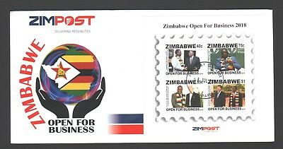 2018 new ZIMBABWE OPEN FOR BUSINESS MS FDC imperf 18th JULY 2018 low volume