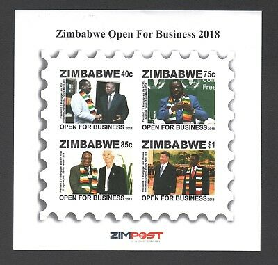 2018 new ZIMBABWE OPEN FOR BUSINESS Imperf MINISHEET MS 18th JULY 2018 NEW