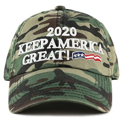 The Hat Depot Exclusive Trump 2020 Keep America Great Cotton Cap-Woodland Camo