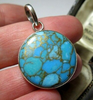 Beautiful Sterling Silver Real Blue Copper Gold Turquoise Stone Necklace PENDANT