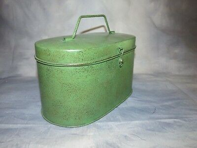 Vintage Green Oval Tin With Lid & Handle And Locking Hasp - Vintage Rustic Decor