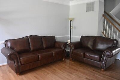 DISTRESSED WHISKEY ITALIAN Leather Sofa and Loveseat Set ...