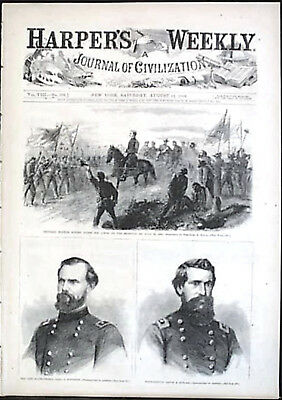 HARPER'S WEEKLY General Sherman Grant Hooker Advance Georgia ORIGINAL 8/13/ 1864